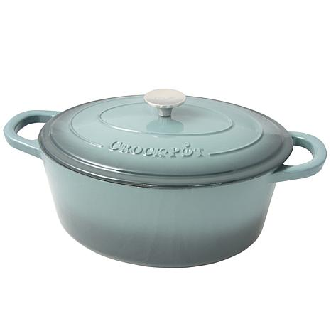 Crock Pot Zesty Flavors 7 Quart Enameled Cast Iron Oval Dutch Oven ...
