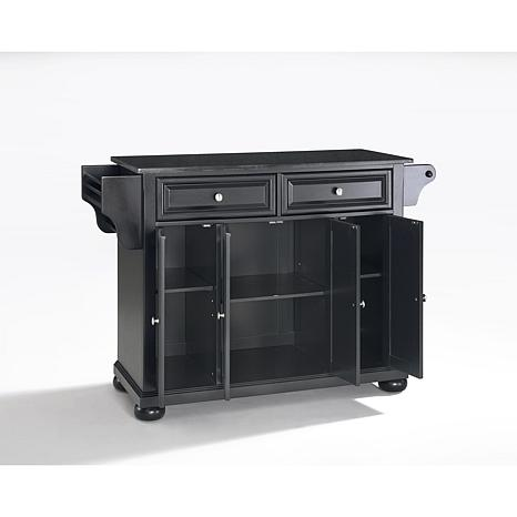 Solid black granite top kitchen island 10069272 hsn for Black kitchen island with granite top