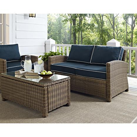 crosley bradenton outdoor wicker loveseat navy