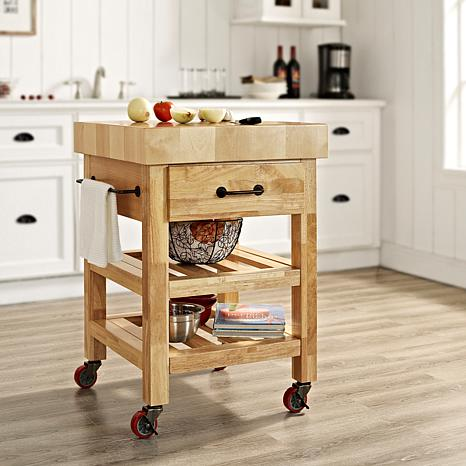 spice island with expandable boos rolling cart portable carts butcher kitchen block white
