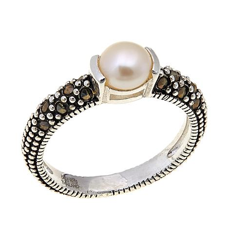 Cultured Pearl & Marcasite Sterling Silver Ring - June