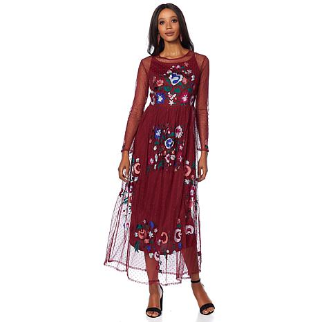 Curations Embellished Mesh Maxi Dress