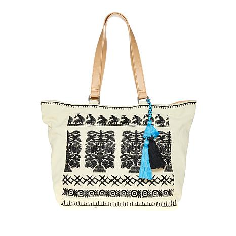 Curations Embroidered Cotton Tote