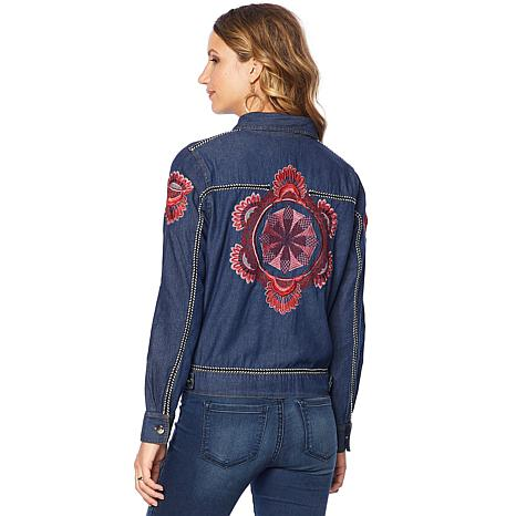 Curations Embroidered Jean Jacket