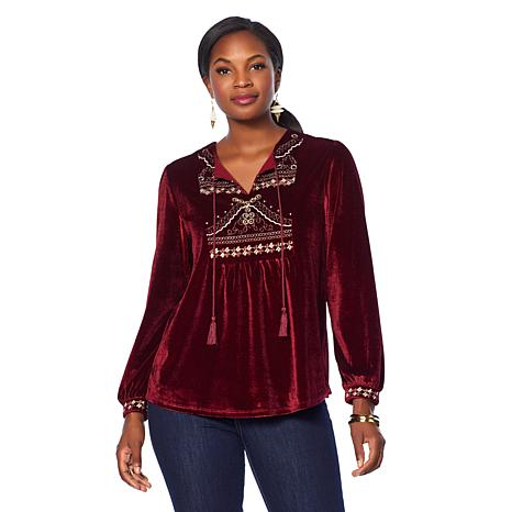 Curations Embroidered Velvet Top