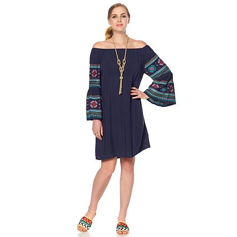 Curations On/Off Shoulder Embroidered Dress