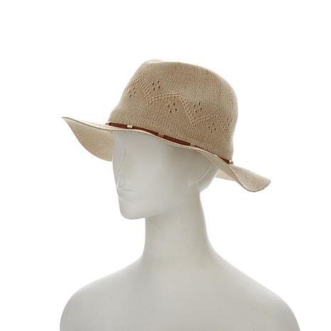 Curations Panama Hat with Faux Suede Strap