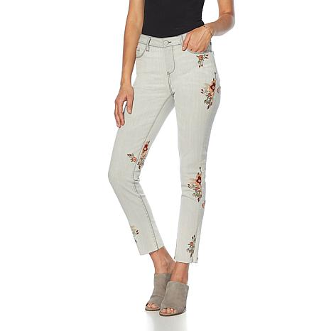 Curations Raw-Hem Floral Embroidered Jean