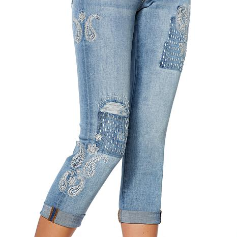 Curations Vintage Paisley Embroidered Boyfriend Jean   8646101 | HSN