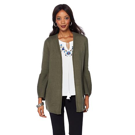 Daisy Fuentes Bell Sleeve Open Cardigan