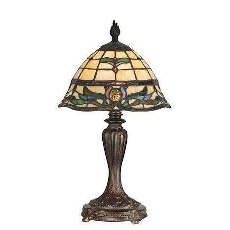 Dale Tiffany Creamy Beige Lamp with Fieldstone-Finish Base
