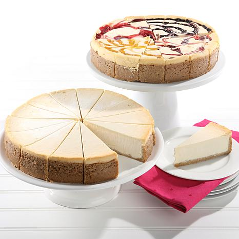 """David's Cookies (2) 10"""" 4.25 lb. NY Style & Fruit Flavored Cheesecakes"""