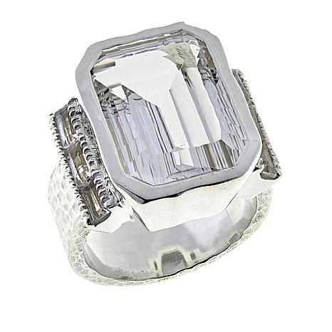 "Deb Guyot 12.6ctw Herkimer ""Diamond"" Quartz Side Baguettes Ring"