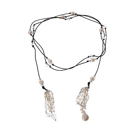 "Deb Guyot  Herkimer ""Diamond"" Quartz and Pearl Leather Lariat Necklace"