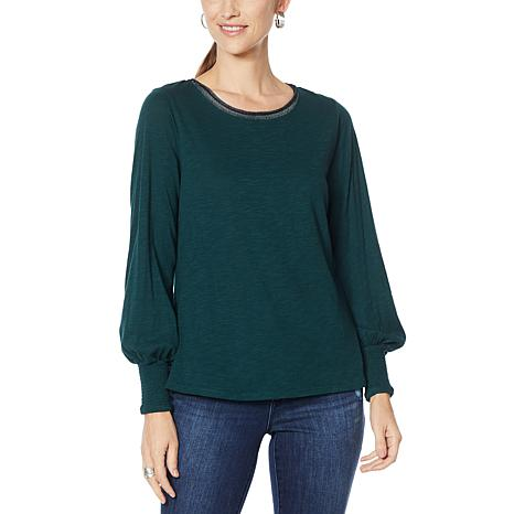 Democracy Smocked Cuff Knit Layer Top