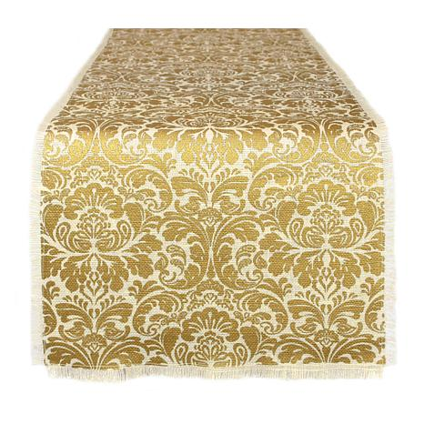 "Design Imports Gold Damask Printed Burlap Table Runner 14"" x 72"""