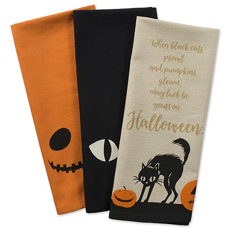 Design Imports Jack O'Lantern Print Kitchen Towel Assorted Set of 3