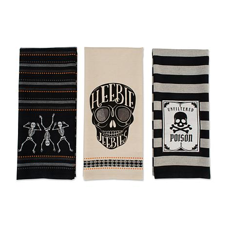 Design Imports Skeleton Embellished Kitchen Towel Assorted Set of 3