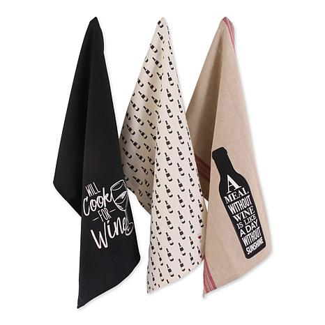 Design Imports Wine and Sunshine Print Kitchen Towel Set of 3