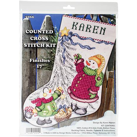 Design Works Counted Cross Stitch Kit 17 Long - Christmas Tree Snowman