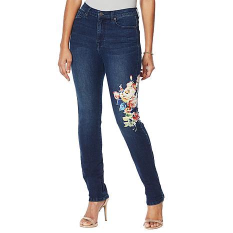 DG2 by Diane Classic Stretch Floral Appliqué Skinny Jean  - Basic