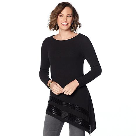 DG2 by Diane Gilman Asymmetric Sequin Sweater