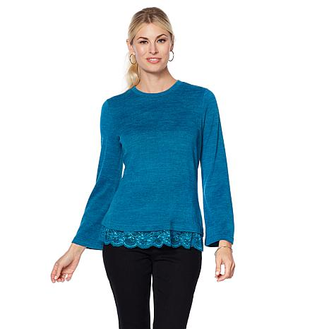 DG2 by Diane Gilman Bell-Sleeve Cozy Knit Top