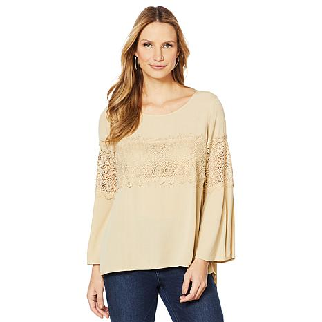 DG2 by Diane Gilman Bell-Sleeve Lace Trim Blouse