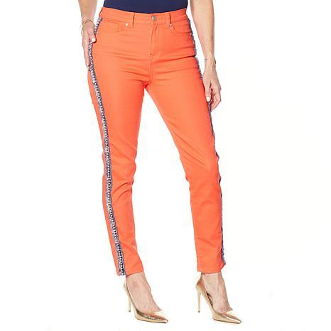 Dg2 By Diane Gilman Classic Stretch Boucle Stripe Skinny Jean Fashion 9357489 Hsn