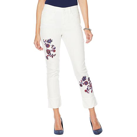 Dg2 By Diane Gilman Classic Stretch Embroidered Cuffed Jean Fashion 8879469 Hsn