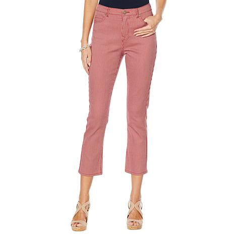 DG2 by Diane Gilman Classic Stretch Pinstripe Crop Jean - Fashion