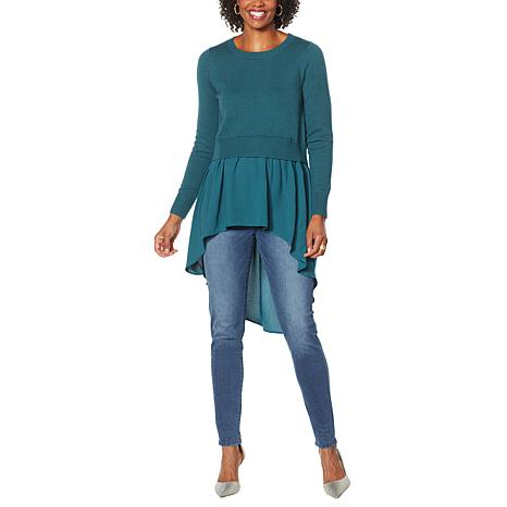 DG2 by Diane Gilman Combo Sweater with Woven Knit Hi-Low Peplum