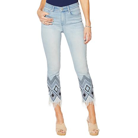 DG2 by Diane Gilman Embroidered Beaded-Hem Cropped Jean