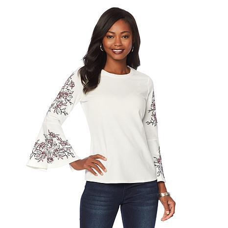 DG2 by Diane Gilman Embroidered Bell-Sleeve Sweatshirt