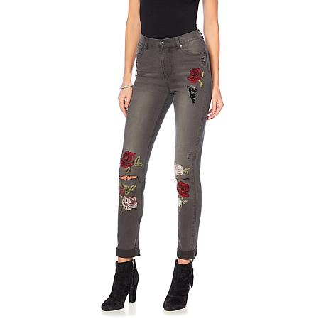 DG2 by Diane Gilman Embroidered Destructed Roll-Cuff Skinny - Fashion
