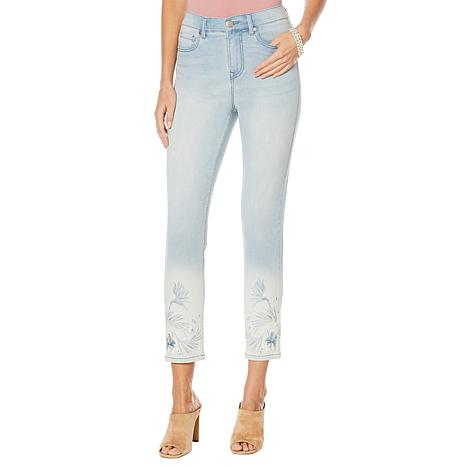 DG2 by Diane Gilman Embroidered Dip-Dyed Cropped Skinny Jean
