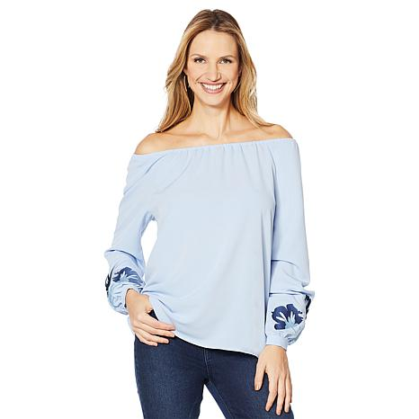 DG2 by Diane Gilman Embroidered Sleeve Peasant Top
