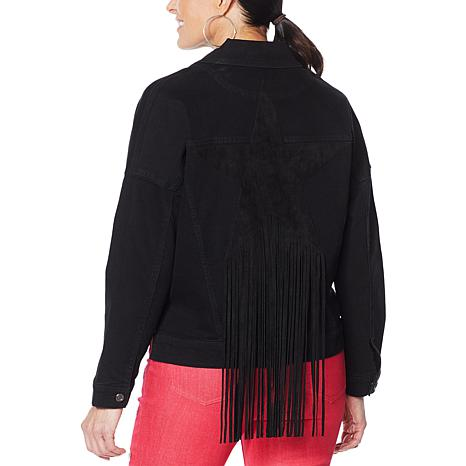 DG2 by Diane Gilman Fringed Star Denim Jacket