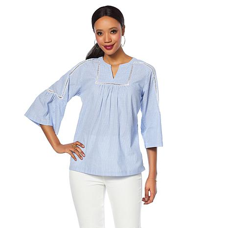 DG2 by Diane Gilman Ladder Stitch Bell-Sleeve Blouse