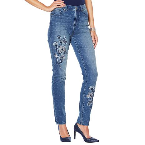 DG2 by Diane Gilman Mini Dot Embroidered Skinny Jean  - Basic
