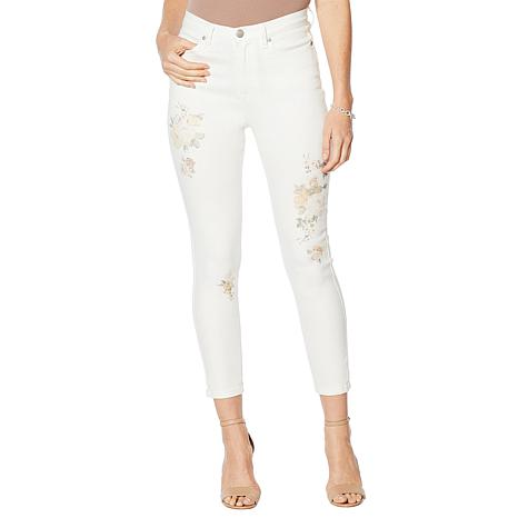DG2 by Diane Gilman Painted Floral Skinny Ankle Jean    - Fashion