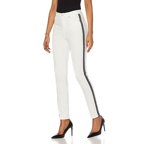 DG2 by Diane Gilman Virtual Stretch Racing Stripe Skinny Jean- Fashion