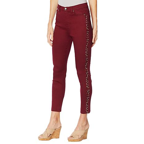 DG2 by Diane Gilman Virtual Stretch Studded Skinny Ankle Jean -Fashion