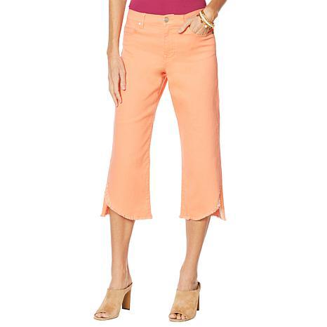 DG2 by Diane Gilman Wide-Leg Curved Raw-Hem Cropped Jean - Fashion