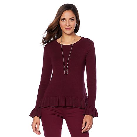 DG2 Quad Blend Ruffle-Hem Ribbed Sweater