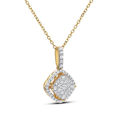 Diamond Couture 0.25ctw Diamond 14K Gold Framed Pendant with Chain