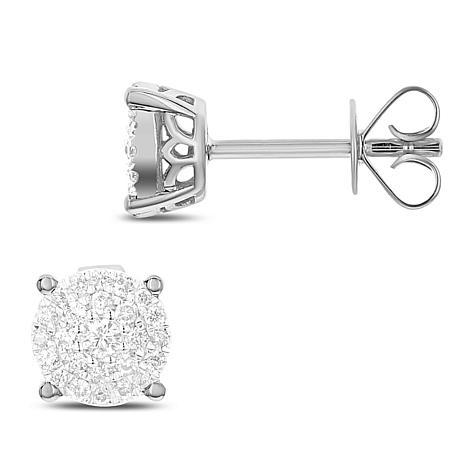 Diamond Couture 14K Gold 0.25ctw Diamond Round Shape Stud Earrings