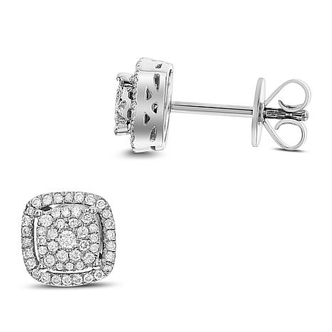 Diamond Couture 14K Gold 0.25ctw Diamond Square Stud Earrings