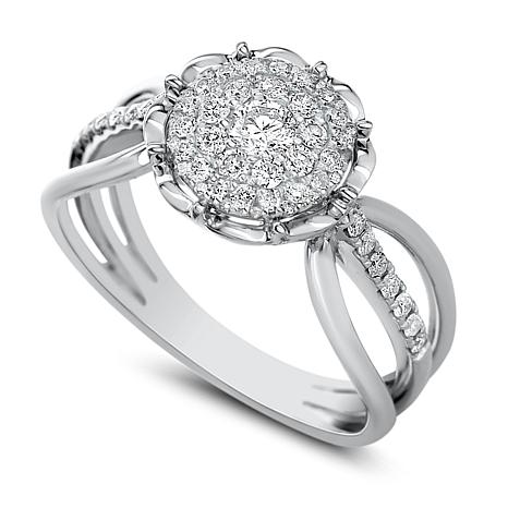 Diamond Couture 14K Gold 0.50ctw Diamond Round Cluster Scalloped Ring