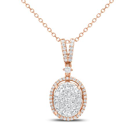 """Diamond Couture 14K Gold Oval Cluster Diamond Pendant with 18"""" Chain"""